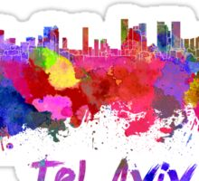 Tel Aviv skyline in watercolor Sticker