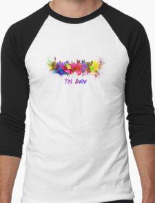 Tel Aviv skyline in watercolor Men's Baseball ¾ T-Shirt