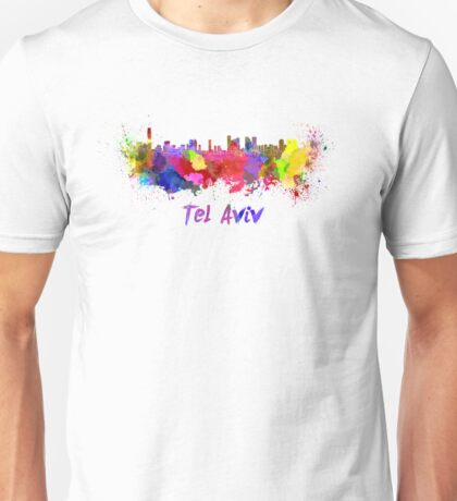 Tel Aviv skyline in watercolor Unisex T-Shirt