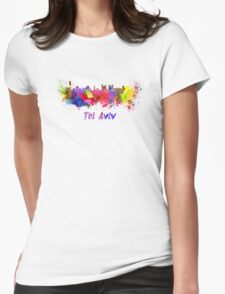 Tel Aviv skyline in watercolor Womens Fitted T-Shirt