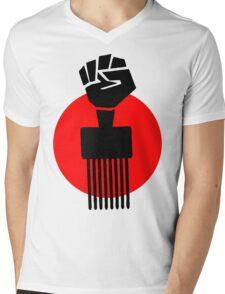 Black Fist Power T-Shirt Mens V-Neck T-Shirt