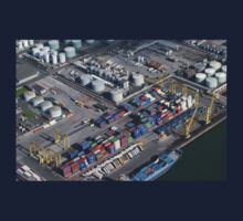 Helicopter view of Dublin Port- Ireland One Piece - Long Sleeve