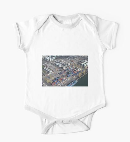 Helicopter view of Dublin Port- Ireland One Piece - Short Sleeve