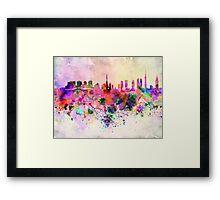 Tokyo skyline in watercolor background Framed Print