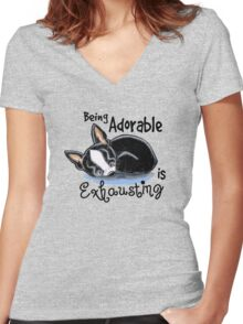 Boston Terrier Being Adorable Women's Fitted V-Neck T-Shirt