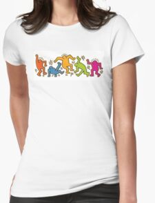 Keith Haring Dancing Figures art Womens Fitted T-Shirt
