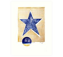 lone star blue texas denim star with golden stripes Art Print