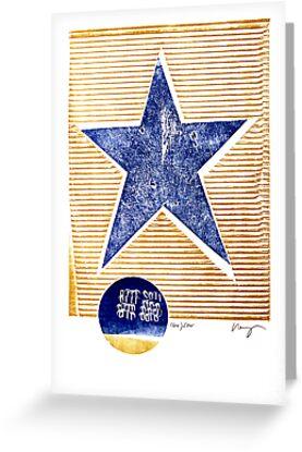 lone star blue texas denim star with golden stripes by Veera Pfaffli
