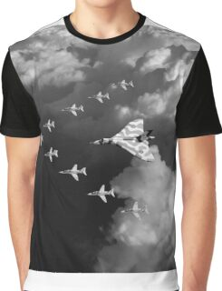 Red Arrows and Avro Vulcan above clouds, B&W version Graphic T-Shirt