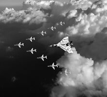 Red Arrows and Avro Vulcan above clouds, B&W version by Gary Eason + Flight Artworks