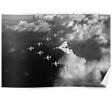 Red Arrows and Avro Vulcan above clouds, B&W version Poster