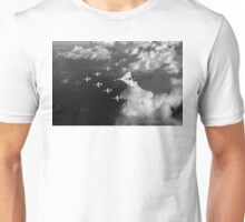 Red Arrows and Avro Vulcan above clouds, B&W version Unisex T-Shirt