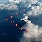 Red Arrows and Avro Vulcan above clouds by Gary Eason