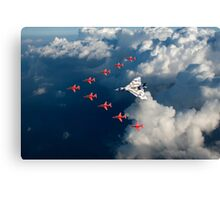 Red Arrows and Avro Vulcan above clouds Canvas Print
