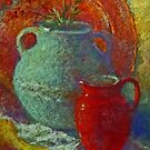 Still life with a red jug by Julia Lesnichy