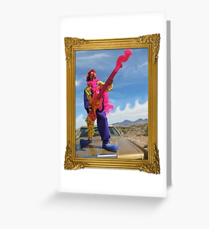 Wacky Clown Guitarist Greeting Card