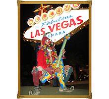 Jester Guitarist in Vegas Photographic Print