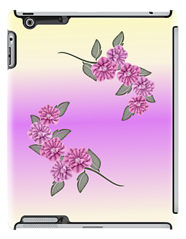 Light Purple Ribbon Pansies Ipad Cae by roseofgold