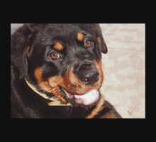 Portrait Of A Gentle Faced Female Rottweiler  Kids Tee