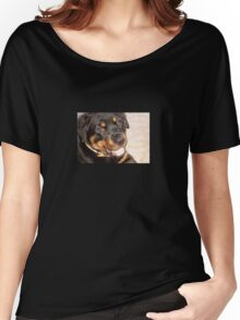 Portrait Of A Gentle Faced Female Rottweiler  Women's Relaxed Fit T-Shirt