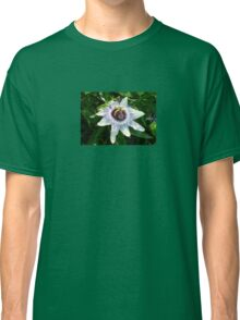Beautiful Passion Flower With Garden Background Classic T-Shirt