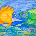 yellow and parrott fish. ipad. iphone by tereza del pilar