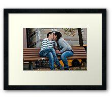 Enlaced Fingers Kiss Framed Print