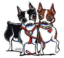 Boston Terrier Walking Buddies by offleashart
