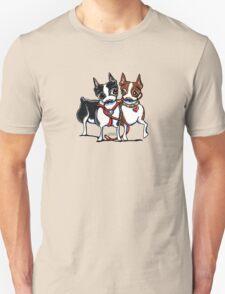 Boston Terrier Walking Buddies Unisex T-Shirt