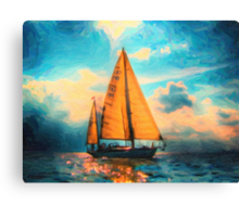 lone star in hazy ocean art Canvas Print