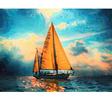 lone star in hazy ocean art Photographic Print