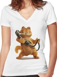 Garfield Telephone Women's Fitted V-Neck T-Shirt