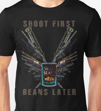 Shoot First. Beans Later. Unisex T-Shirt