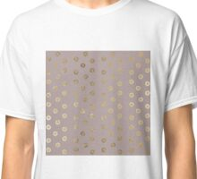 Elegant and Girly Faux Gold Glitter Dots Beige Classic T-Shirt