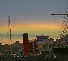 Boats and the Bridge by David Denny