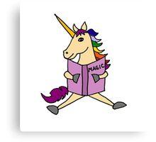 Cute Cool Colorful Unicorn Reading Magic Book Canvas Print