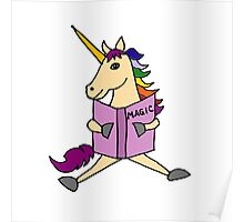 Cute Cool Colorful Unicorn Reading Magic Book Poster