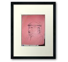 Picasso sketch -(130313)- Black biro pen/A4 sketchpad Framed Print