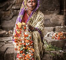 Woman Selling Garlands by jazzwall