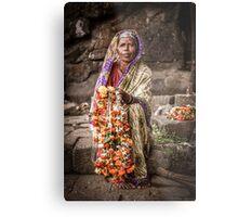 Woman Selling Garlands Metal Print