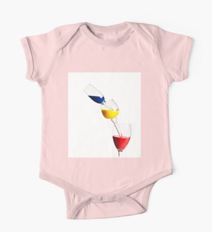 Falling glasses of paint on white background High speed photography  One Piece - Short Sleeve
