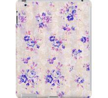 Stylish chic vintage pink blue floral pattern  iPad Case/Skin