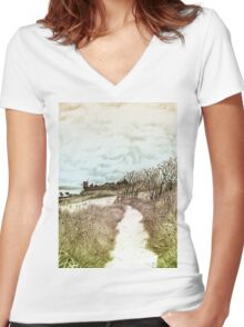 Coastal path at Crail in Fife, Scotland [Colour version] Women's Fitted V-Neck T-Shirt