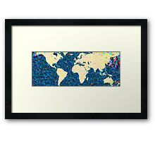 maps pointilism World Map 2 Framed Print