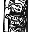 HON the Kachina Bear linocut by craftyhag