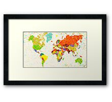 maps pointilism World Map Framed Print