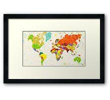 maps pointilism World Map Framed Print