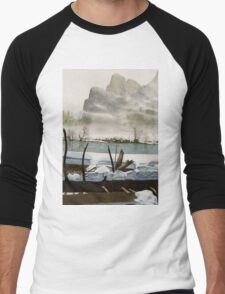 Yosemite NP: 'Rivermist' - Watercolours. Men's Baseball ¾ T-Shirt
