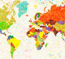 maps pointilism World Map with leaves by Adam Asar
