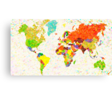 maps pointilism World Map with leaves Canvas Print